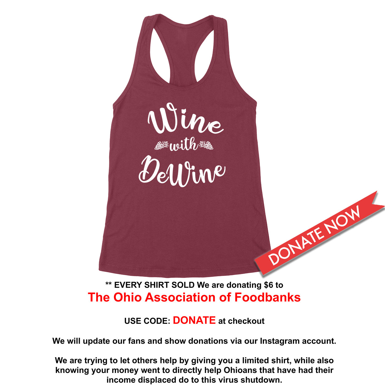 Wine With DeWine Donation Women's Tank - Clothe Ohio - Soft Ohio Shirts