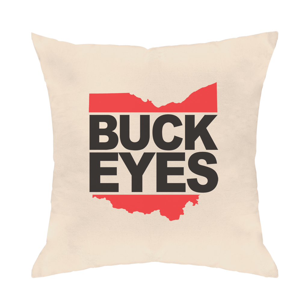 Buck Eyes DMC Throw Pillow - Clothe Ohio - Soft Ohio Shirts