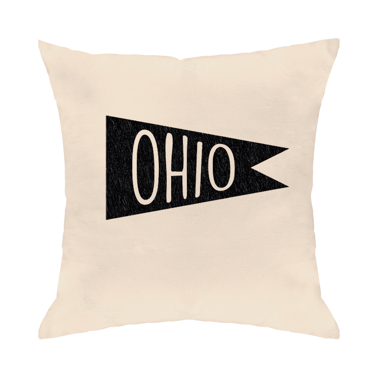 Retro Flag Black Throw Pillow - Clothe Ohio - Soft Ohio Shirts