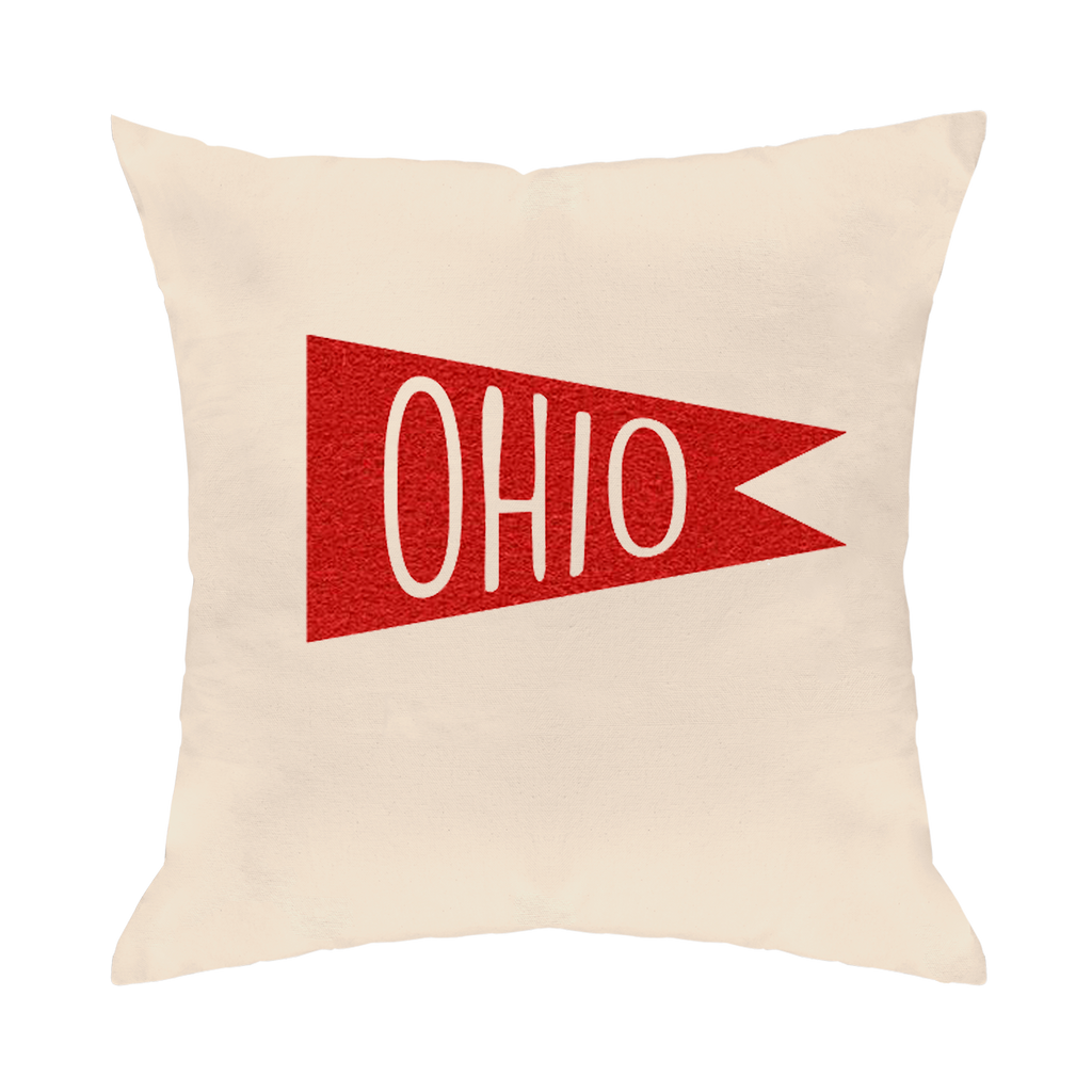 Retro Flag Red Throw Pillow - Clothe Ohio - Soft Ohio Shirts