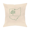 Ohio Tree One Line Throw Pillow - Clothe Ohio - Soft Ohio Shirts