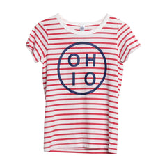 Navy Circle Ohio Women's Striped Shirt BD