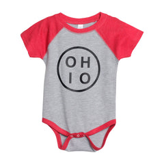 Small O H I O Circle (Black Ink) Baby One Piece