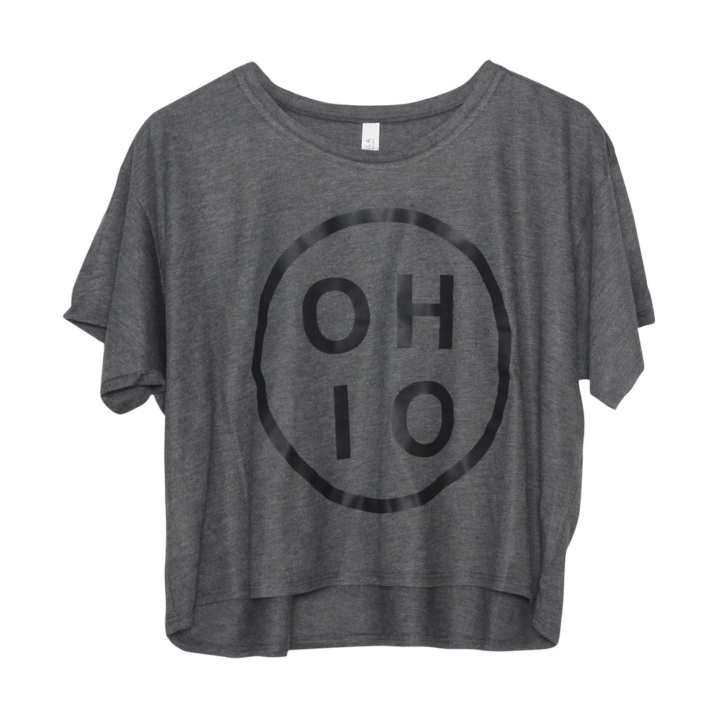 Ohio Circle Black Women's Flowy Boxy Tee - Clothe Ohio - Soft Ohio Shirts