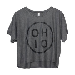 Ohio Circle Black Women's Flowy Boxy Tee