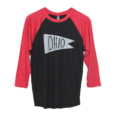 Retro Ohio White Flag Raglan T-Shirt