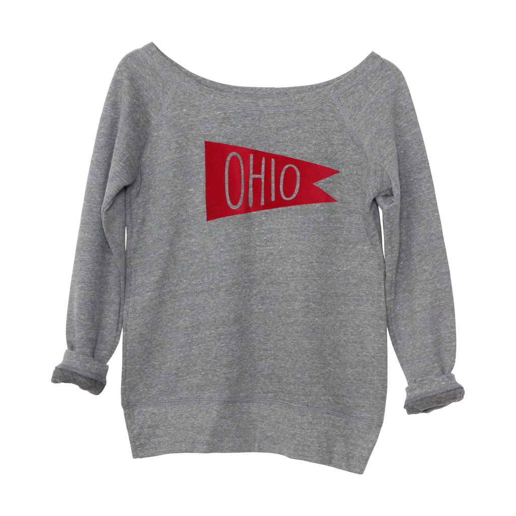 284f1730ebb11 Retro Red Ohio Flag Flock Women s Off-Shoulder Sweatshirt