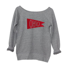 Retro Red Ohio Flag Flock Women's Off-Shoulder Sweatshirt
