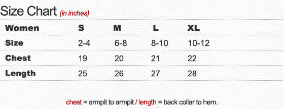 Women's Cut Off Sweatshirt Size Chart