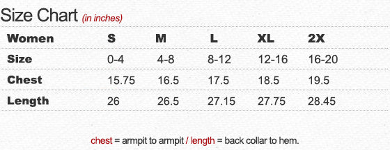 Women's Tri-Blend V-Neck T-Shirt Size Chart