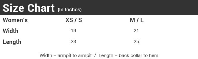 Women's Drift Eco-Gauze Size Chart