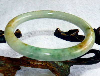"""Glorious"" Classic Round Green with Honey Hues Burmese Jadeite Bangle Bracelet 59.5 mm -Grade A+Certificate (3098)"