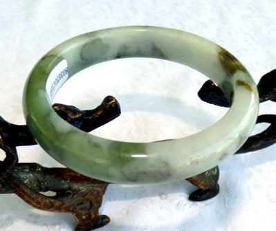 """Compassionate Earth"" Burmese Jadeite Bangle Bracelet Grade A 55.5mm + Certificate (3103)"