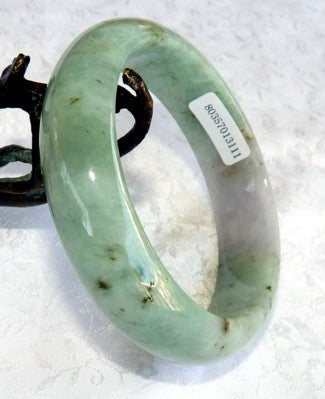 """Glowing Lavender"" on Varied Green Burmese Jadeite Bangle Bracelet 61mm + Certificate (3111)"
