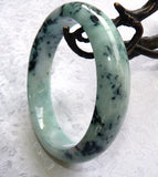 """Peppery"" Veins Burmese Jadeite Grade A Bangle Bracelet 62.5mm + Certificate (4986)"