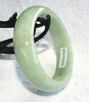 "Clearance-""Good Green"" Burmese Jadeite Bangle Bracelet 54.5mm Grade A +Certificate #629"