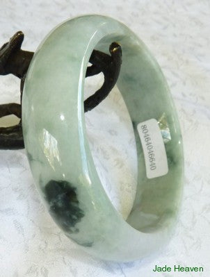 """Overcoming Adversity"" Yin and Yang Green Jadeite Jade Bangle 55mm + Certificate (640)"