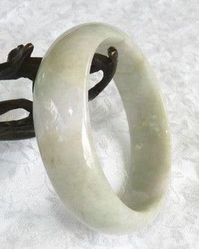 """Keep Calm and Carry On"" Jadeite Jade Grade A Bangle Bracelet 55mm+ Certificate  (646)"
