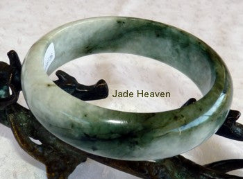 "Fabulous Deep Green Veins on Light Green ""Yin Yang""   Jadeite Jade Bangle Bracelet  59mm (736)"