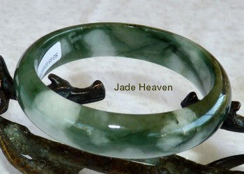 """Clouds"" of White on Deep Green A Grade Burnese Jadeite Jade Bangle 59mm with Certificate (746)"