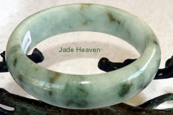 """Dragon Tracks'' Deep Green Veins Jadeite Bangle 57mm + Certificate (756)"