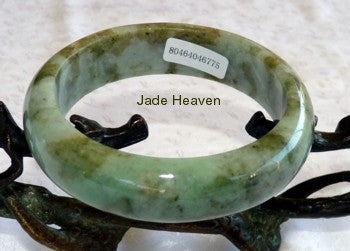 "Super Sale-""Mossy""  Green Veins Jadeite Jade  Bangle A Grade 58mm + Certificate (775)"