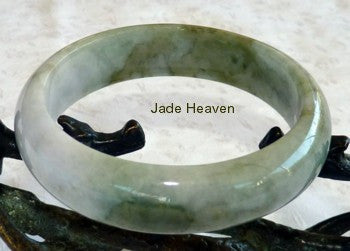 Soft Lavender Hues on Green Jadeite Jade Bangle Bracelet 57mm
