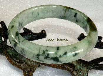 """Mossy"" Veins on Light Green Jadeite Jade Bangle 58.5mm + Certificate (799)"