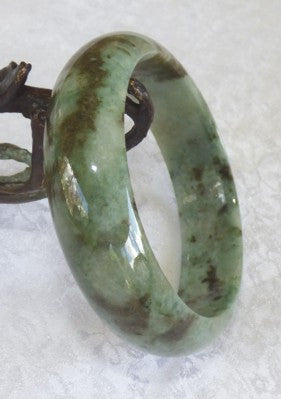 Yang Deep Green Veins Jadeite Jade Bangle Bracelet 59mm + Certificate (802)