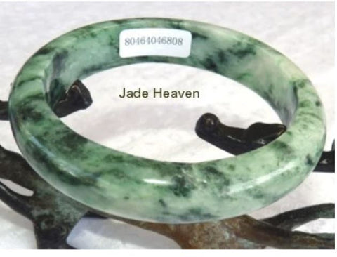 "Sale-New Listing-Powerful Woman  ""Yang"" Burmese Jadeite Bangle Bracelet Grade A + Certificate 55 mm (808)"
