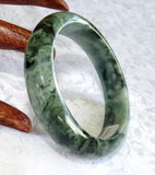 """Dragon Green Veins"" Grade A Natural Jadeite Jade Bangle Bracelet 53mm + Certificate (810)"