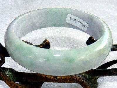 """Peace and Serenity"" Green with Lavender Hues Burmese Jadeite Grade A Bangle Bracelet 58mm+Certificate (8543)"