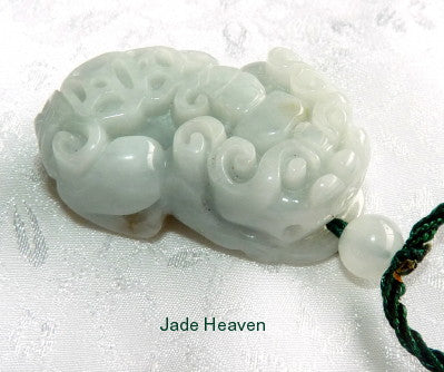 """Pixiu Brings Luck and Wealth"" Burmese Jadeite Grade A Pendant + Certificate (P-2131)"