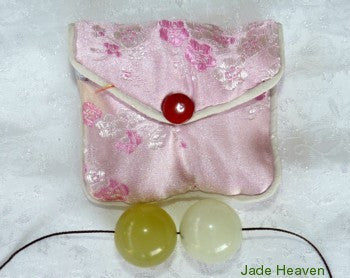 "Jade ""Yin Yang"" Light and Darker Green Jade Kegel Ben Wa Balls Drilled with Hole + Silk Pouch"