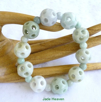 Burmese Jadeite Hollow Carved Bead Stretch Bracelet (JH-Bead-H)