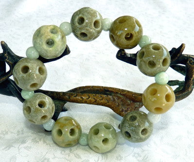 "Burmese Jadeite ""Yang"" Hollow Carved Bead Stretch Bracelet (JH-Bead-HY)"