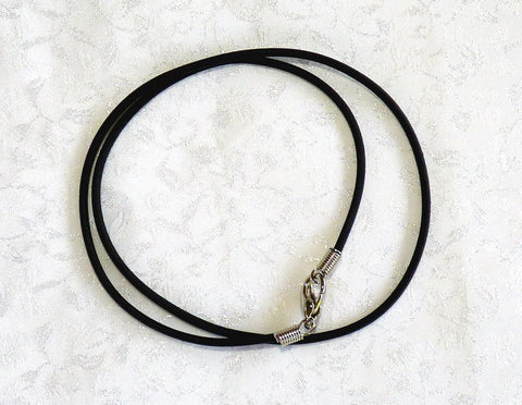 Black Leather Cord for Jade Pendants with Bail 16""
