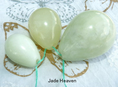 "Jade Eggs-Women's Wellness Sale Today! Set Three Jade Eggs for Womens Health, ""Yoni"", Drilled with Hole"