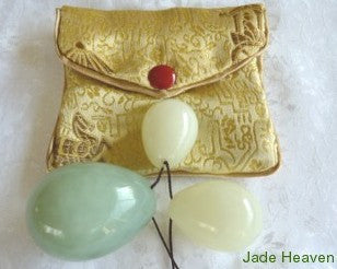 "Yin and Yang Light and Darker Jade ""Yoni"" Eggs for Women's Kegel + Silk Pouch Drilled with Hole"