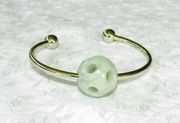 Hollow Jadeite Jade Bead Charm on Pandora Style Bracelet