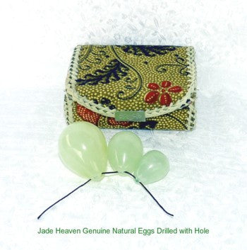 "Women's Wellness Sale Today!  Set Three Jade  Eggs for Womens Kegel  Health, ""Yoni"", Drilled with Hole+Box"