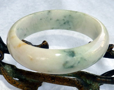 "Vintage Old Mine Lao Pit Burmese Jadeite Jade ""Princess with a Secret""  Bangle Bracelet Grade A 58mm (JHBB250)"