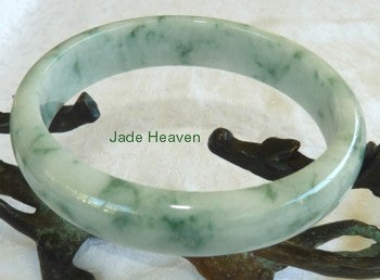 "Vintage Old Mine Lao Pit ""Moss in Snow"" Jadeite Jade Grade A Bangle Bracelet 64mm (JHBB252)"