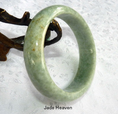 """Chameleon"" Honey Butterfly Tracks Vintage Burmese Jadeite Jade Bangle Bracelet 57mm (JHBB256)"