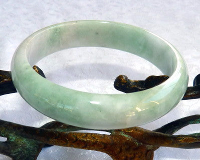 "Vintage Old Mine Lao Pit ""Jade Sister"" Jadeite Small Bangle Bracelet Grade A 54.5mm (JHBB261)"
