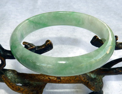 """Fei Cui"" Green Translucent  Glowing Vintage Burmese Jadeite Jade Grade A Bangle Bracelet 58.5mm (JHBB265)"