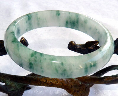 "Fabulous Imperial Green Veins ""Moss in Snow"" Vintage Jadeite Jade Grade A Bangle Bracelet 58.5mm (JHBB268)"