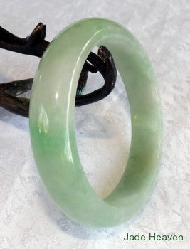 "Translucent Green and ""Clouds"" Old Mine Jadeite Bangle 54.5mm (JHBB2752)"
