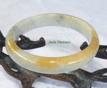 """Honey Veins"" for Peace and Calm Jadeite Jade Old Mine Lao Pit Bangle 57.2mm (JHBB280)"