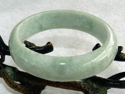 "Varied Green Veins ""Old Mine"" Grade A Burmese Jadeite Bangle Bracelet 57mm (JHBB3272)"
